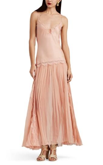 ALBERTA FERRETTI Lace-Trimmed Pleated Silk Pink Dress