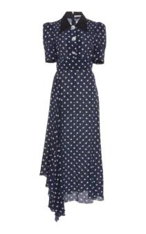 ALESSANDRA RICH Polka-Dot Silk-Chiffon Midi Navy Dress
