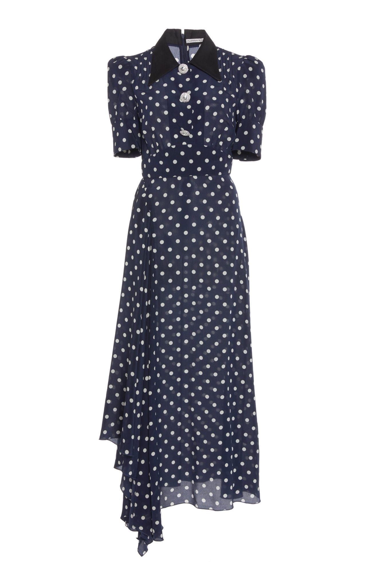 ALESSANDRA RICH Polka-Dot Silk-Chiffon Midi Navy Dress