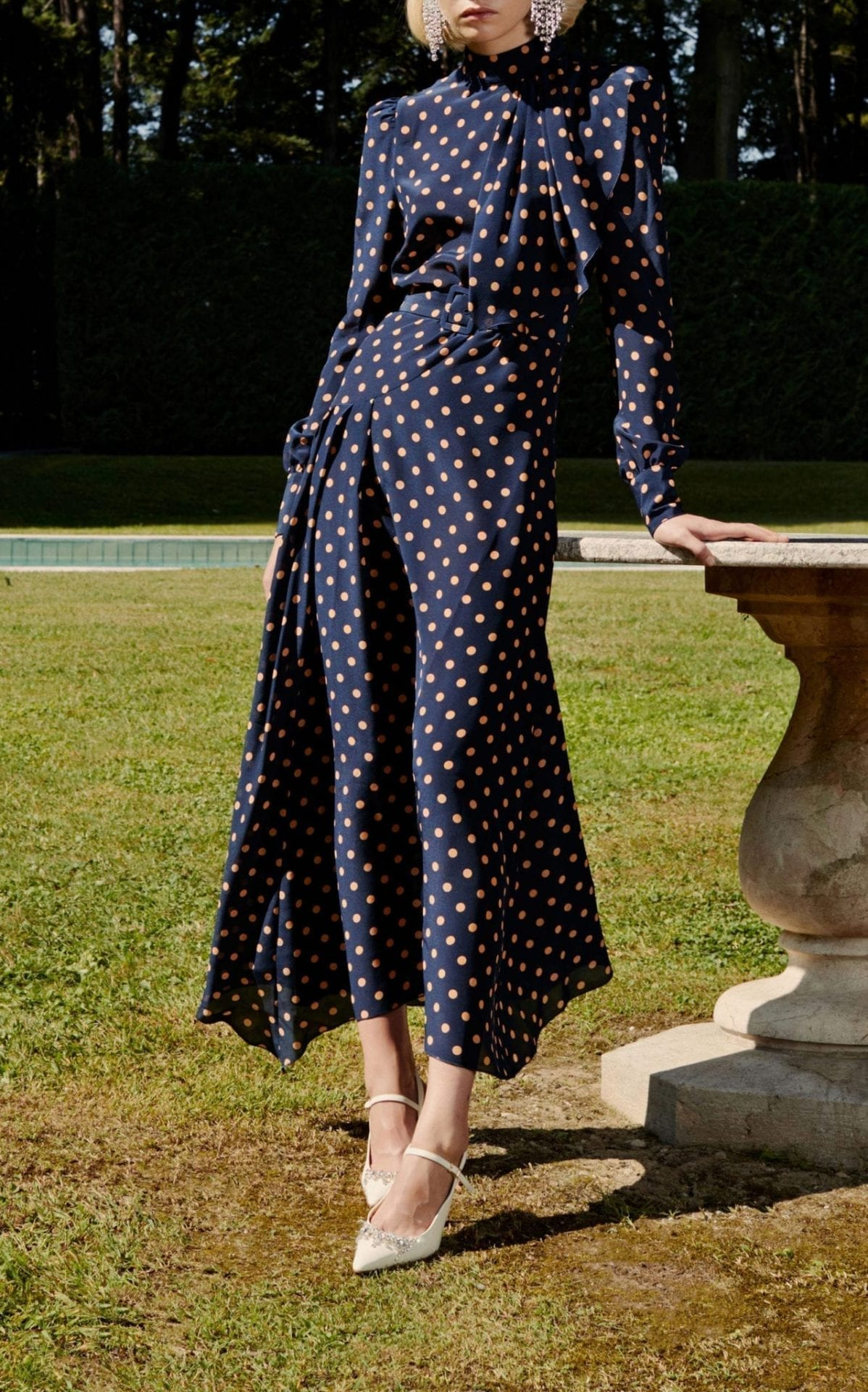 ALESSANDRA RICH Polka-Dot Silk-Crepe Navy Dress