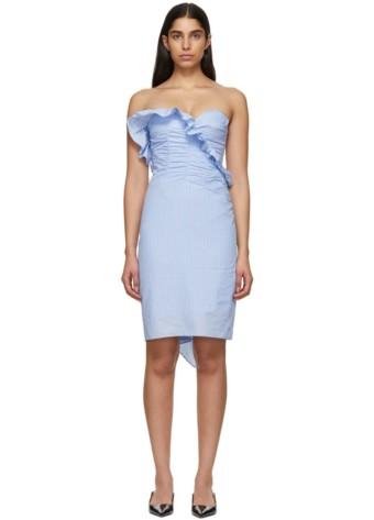 ALEXACHUNG Ruched Blue Dress