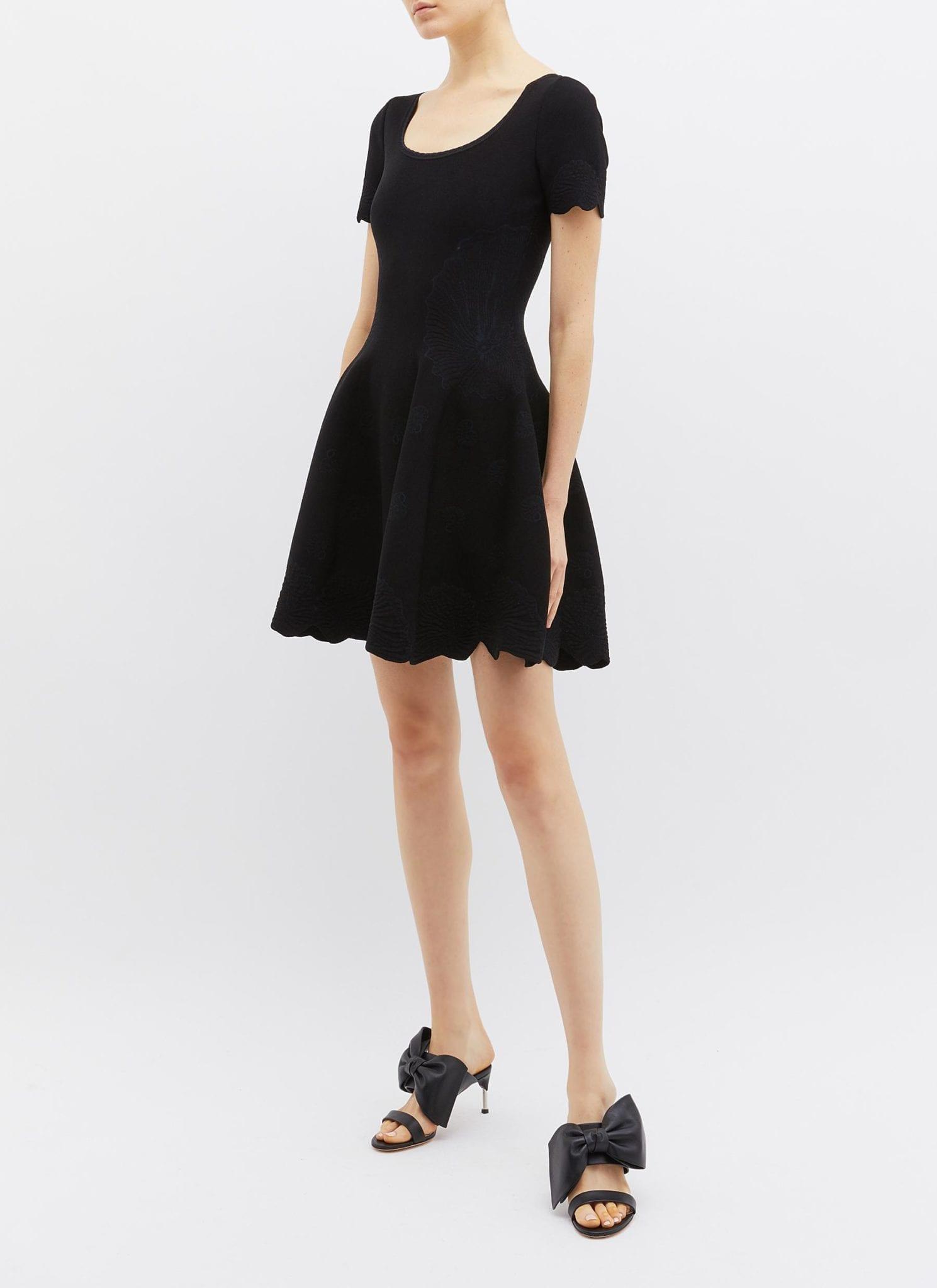 ALEXANDER MCQUEEN Scalloped Shell Jacquard Knit Black Dress