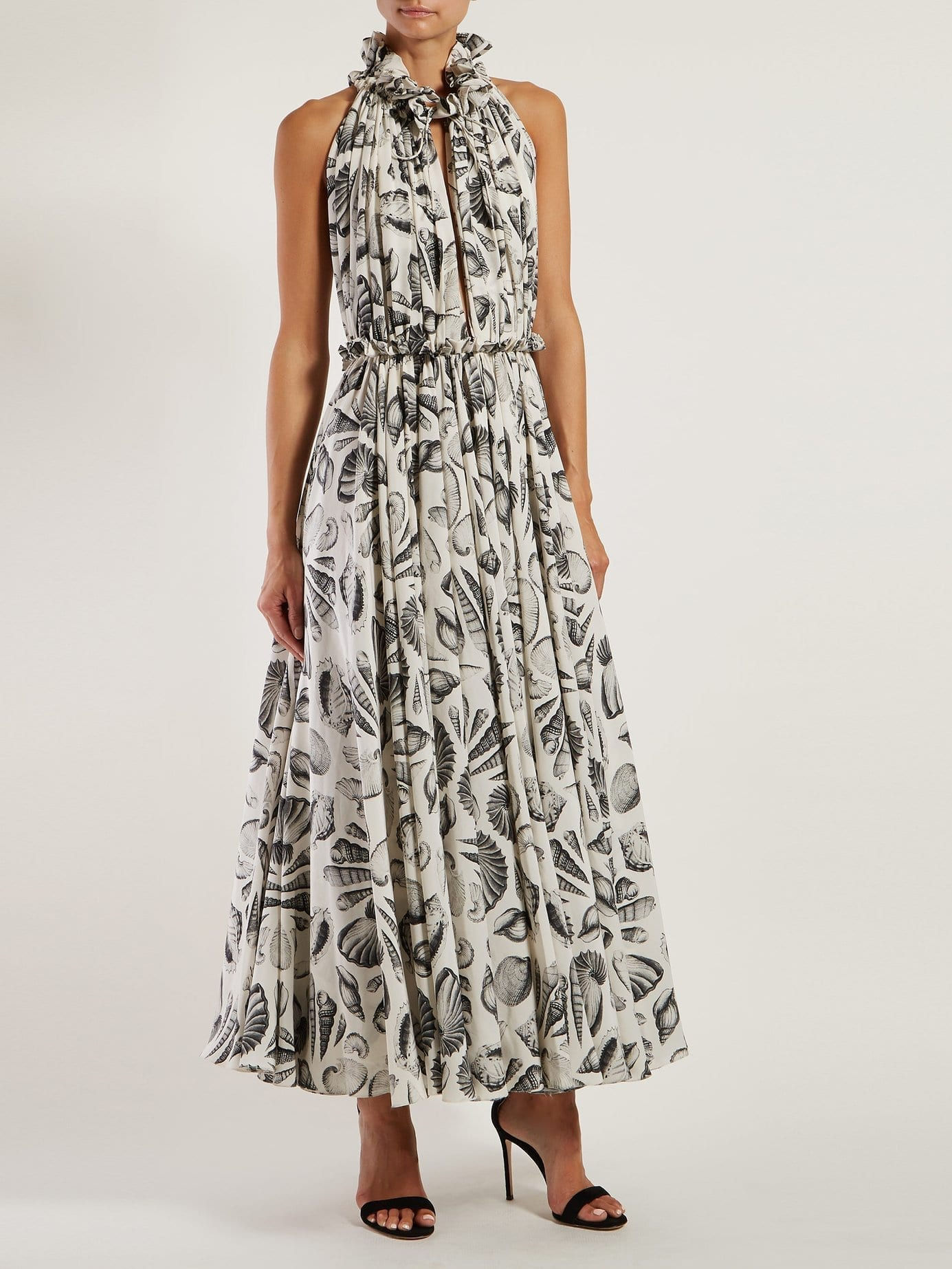 ALEXANDER MCQUEEN Shell Print Silk White Gown