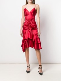ALEXANDRE VAUTHIER Ruffle Slip Red Dress