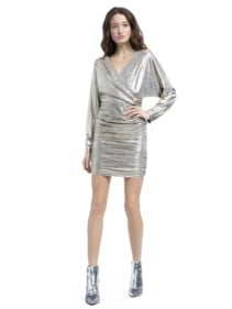 ALICE AND OLIVIA Pace Bat Wing Silver Mini Silver Dress