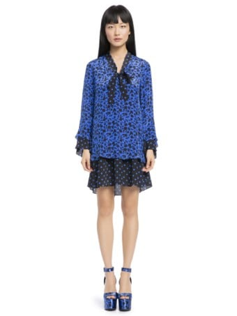 ALICE AND OLIVIA Wellesly Tie Neck Mini Blue / Floral Printed Dress