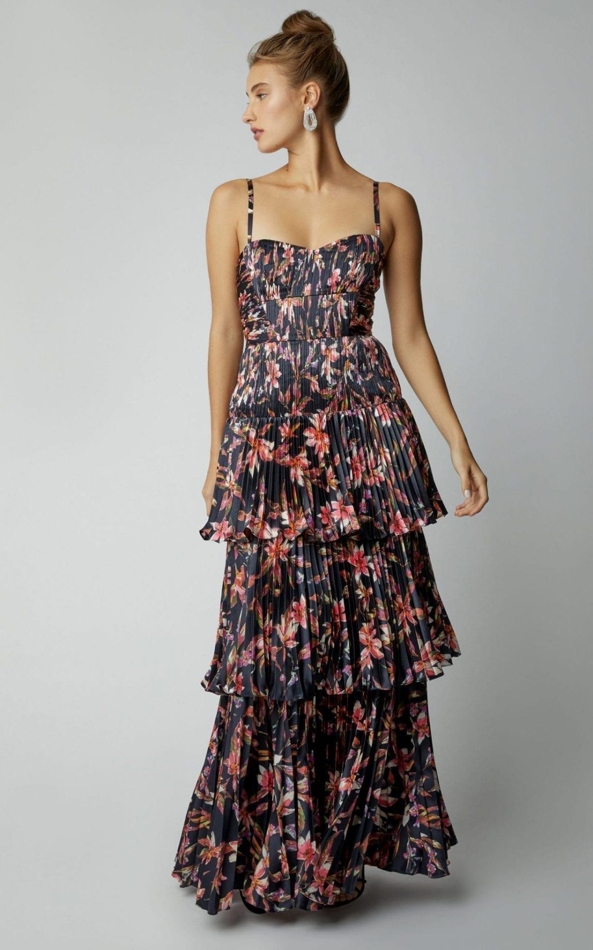 AMUR Londyn Printed Satin Maxi Black / Floral Printed Gown