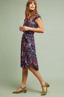 ANTHROPOLOGIE Colloquial Short-Sleeved Shirt Black / Floral Printed Dress