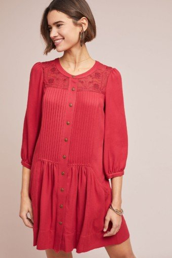 ANTHROPOLOGIE Dubois Embroidered Tunic Rose Dress