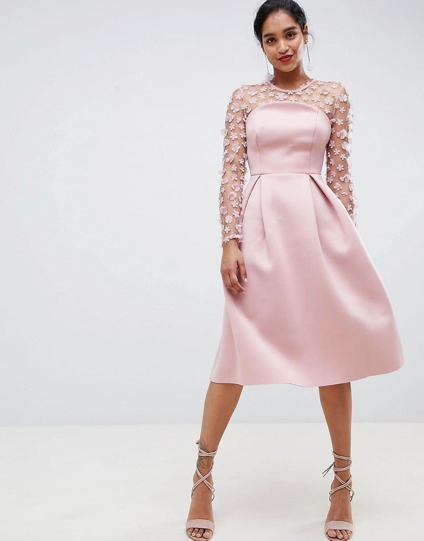 07b2ca1589d ASOS DESIGN 3D Floral Lace Bandeau Scuba Prom Midi Blush Dress - We ...