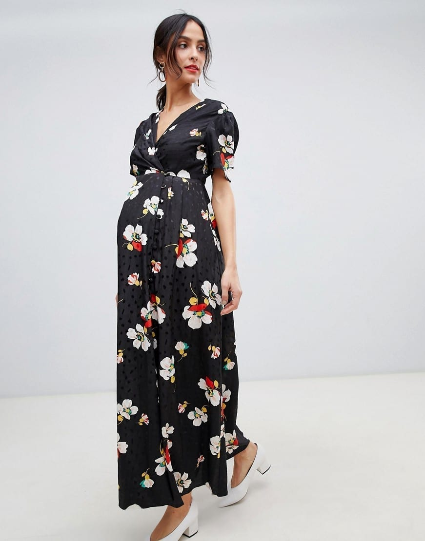 c9587e64227 ASOS DESIGN Jacquard Maternity Button Through Maxi Tea Black   Floral  Printed Dress