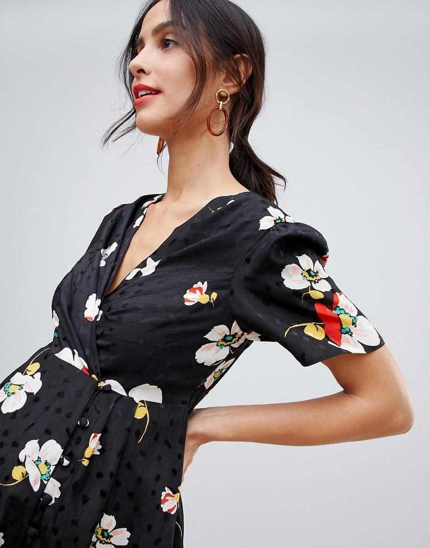 5fb52554cb4d1 ASOS DESIGN Jacquard Maternity Button Through Maxi Tea Black / Floral  Printed Dress