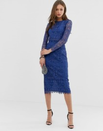 ASOS DESIGN Lace Long Sleeve Midi Pencil Deep Blue Dress