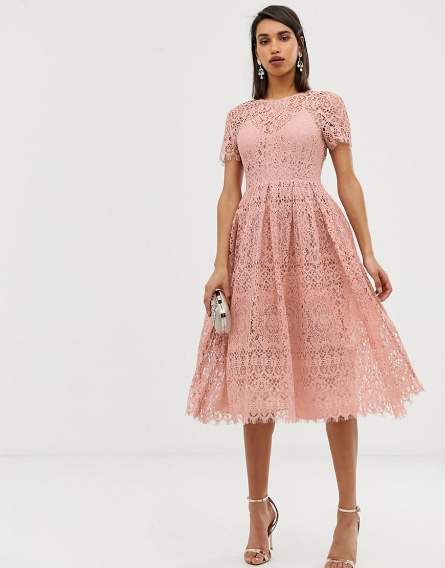 d1ff106a09e ASOS DESIGN Lace Midi With Ribbon Tie And Open Back Blush Dress - We ...