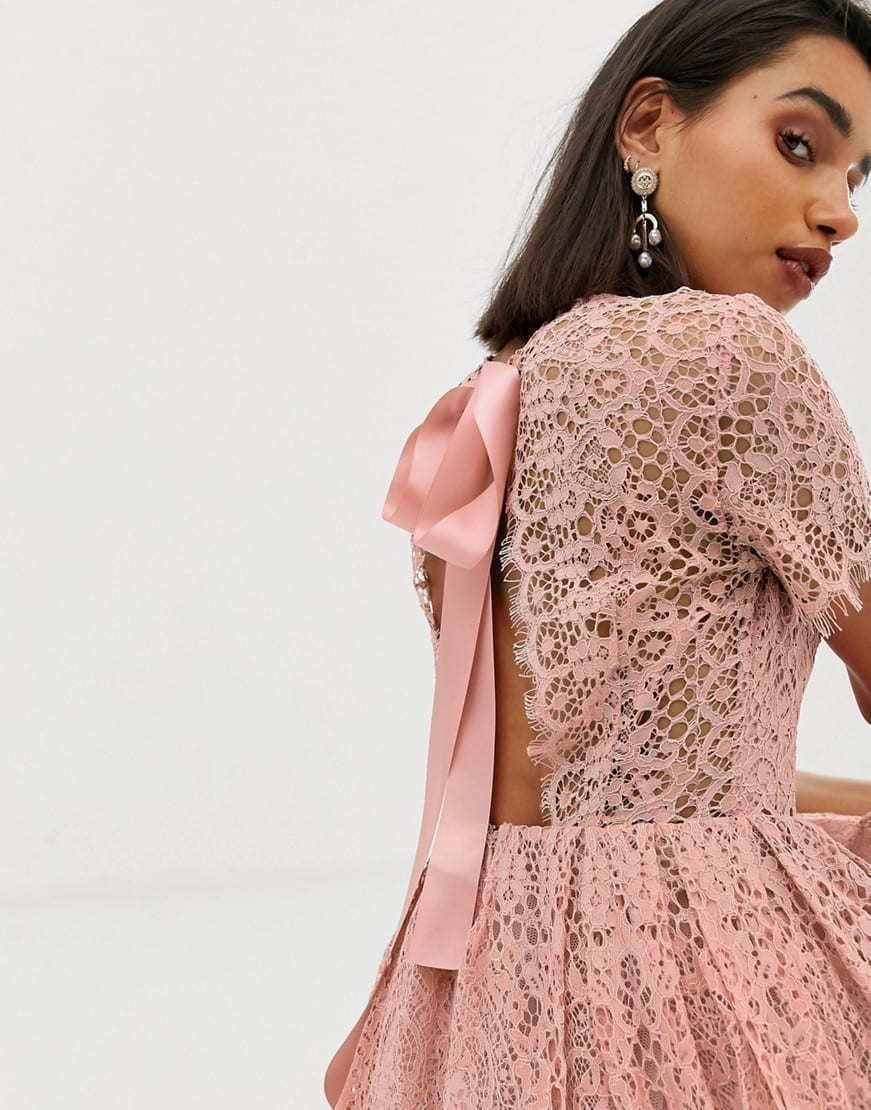 Asos Design Lace Midi With Ribbon Tie And Open Back Blush Dress