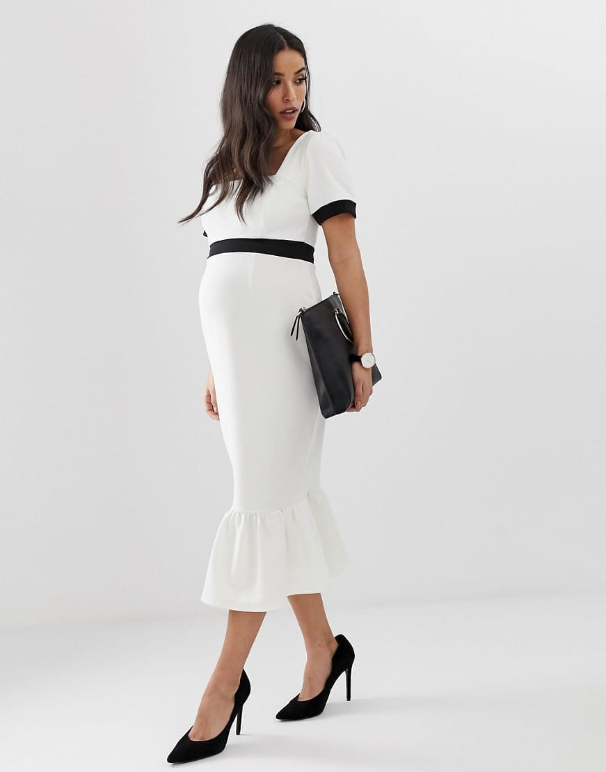 11809ab97a872 ASOS DESIGN Maternity Mono Rib Pep Hem Midi White / Black Dress - We ...