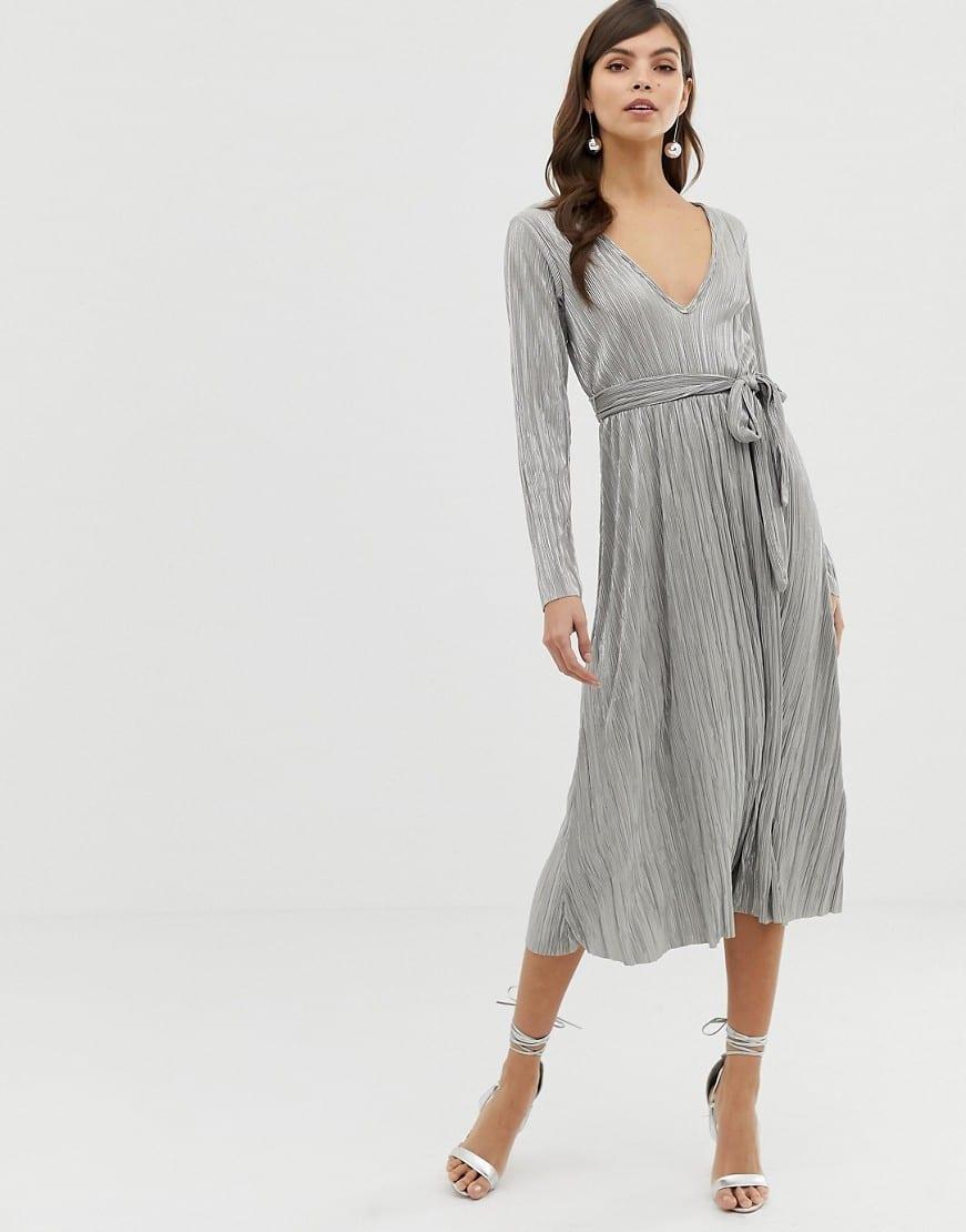 4aebf2076d4 ASOS DESIGN Metallic Plisse Tie Belt Midi Skater Silver Dress - We ...