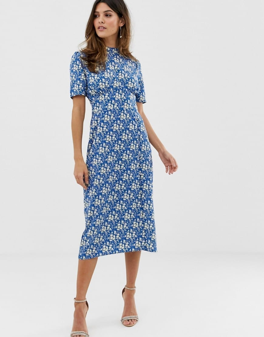 fa2062e6d571 ASOS DESIGN Midi Tea Buttons Blue / Floral Printed Dress - We Select ...