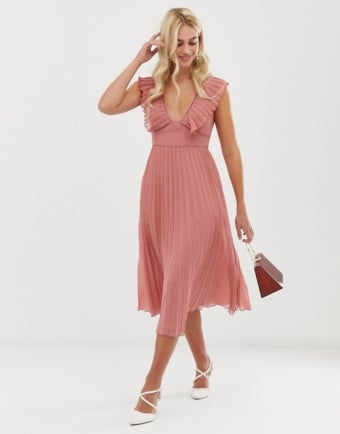 ASOS DESIGN Plunge Pleated Lace Trim Midi Rose Dress