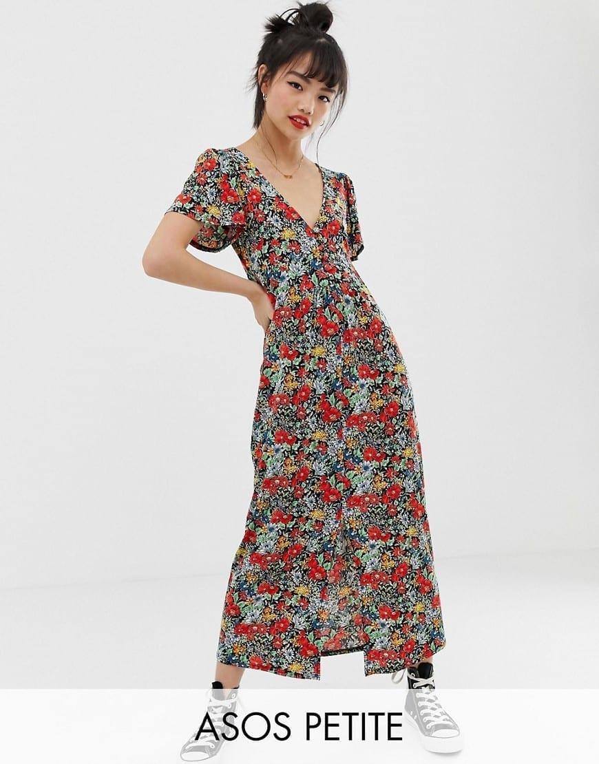 48935de2905 ASOS DESIGN Self Covered Buttons Petite Jersey Crepe Maxi Tea Floral  Printed Dress