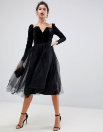 ASOS DESIGN Velvet Tulle Midi Black Dress