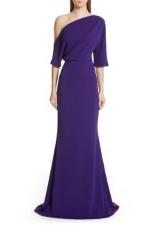 BADGLEY MISCHKA COLLECTION Badgley Mischka One-Shoulder Trumpet Evening Deep Purple Dress