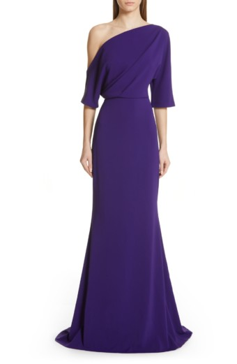 BADGLEY MISCHKA COLLECTION Badgley Mischka One-Shoulder Trumpet Evening Deep Purple Dress