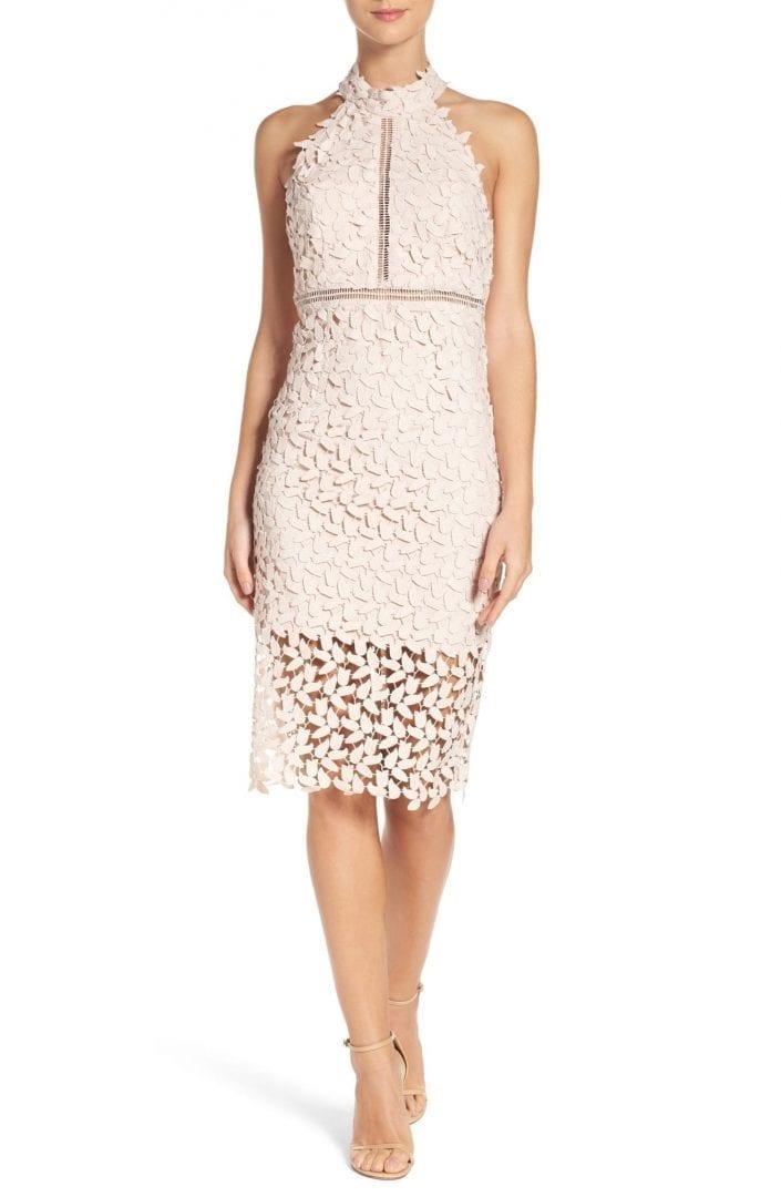BARDOT Gemma Halter Lace Sheath Prosecco Dress