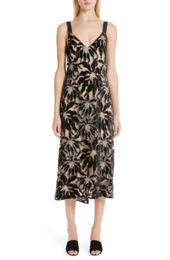 BEAUFILLE Floral Velvet Appliqué Lace Slip Black Dress