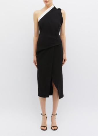 BIANCA SPENDER 'Athena' Belted One-shoulder Crepe Wrap Black Dress