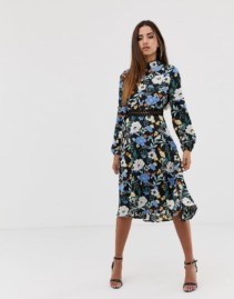 BOOHOO Exclusive Open Back Lace Insert Midi Black / Floral Printed Dress