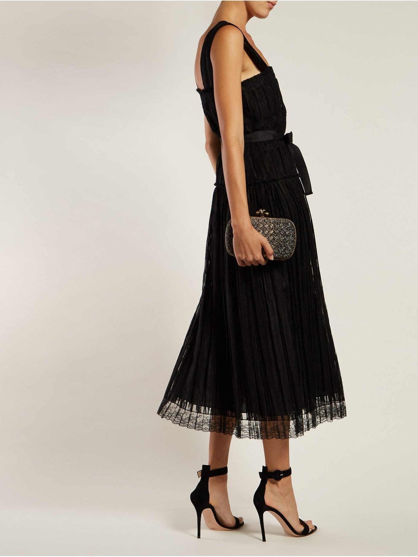 BOTTEGA VENETA Pleated Taffeta Midi Black Dress