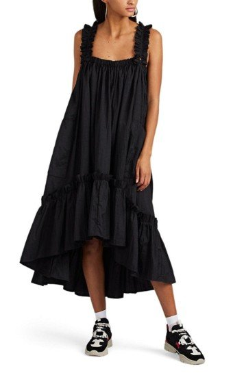 BROGGER Ruffle-Trimmed Crushed Ripstop A-Line Black Dress