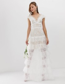 BRONX & BANCO Exclusive Tiered Bridal White Gown