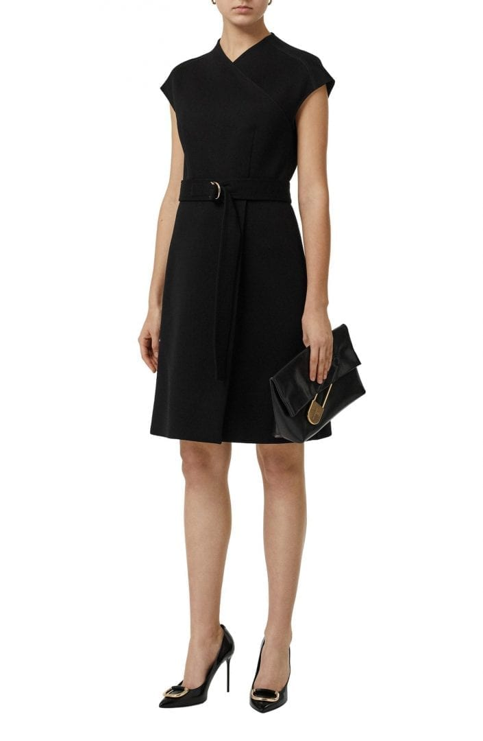 BURBERRY Dulsie D-Ring Detail Bonded Jersey Black Dress
