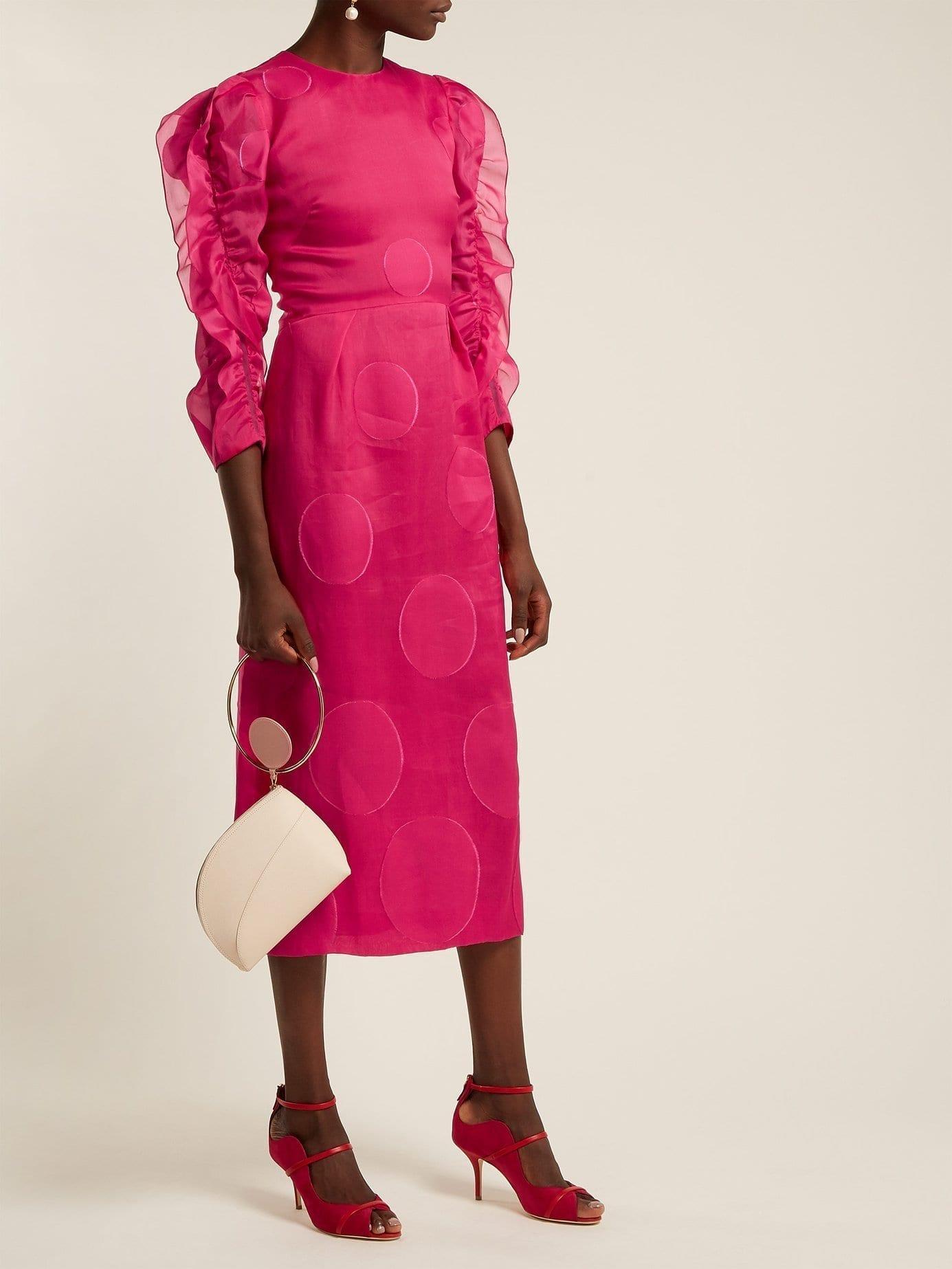 CAROLINA HERRERA Dégradé Fil-coupé Midi Pink Dress