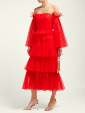 CAROLINA HERRERA Off-the-shoulder Tiered Tulle Midi Red Dress
