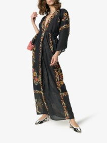 CELIA DRAGOUNI Kimono Sleeve Maxi Black / Floral Printed Dress