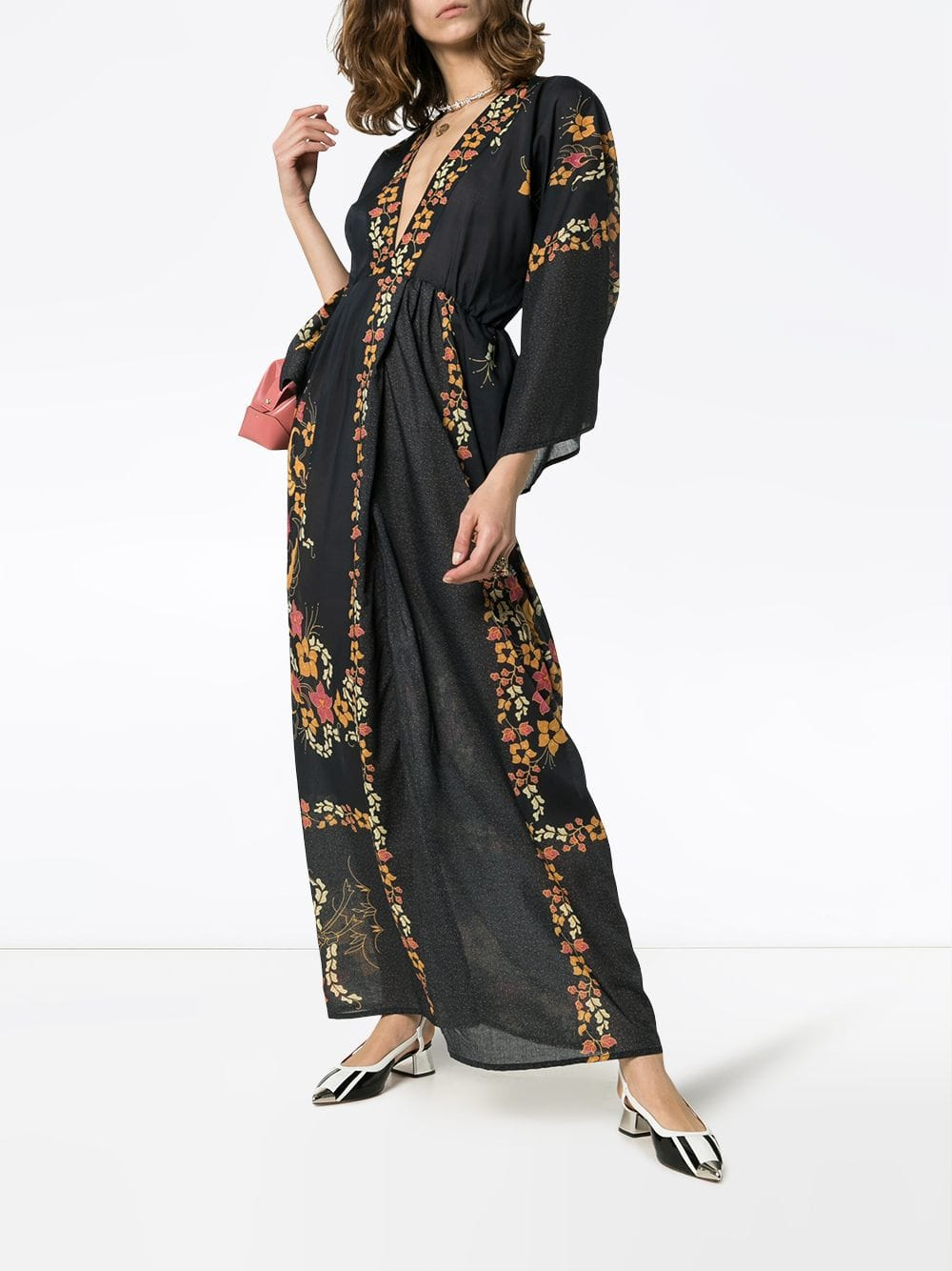 CELIA DRAGOUNI Kimono Sleeve Maxi Black / Floral Printed Dress