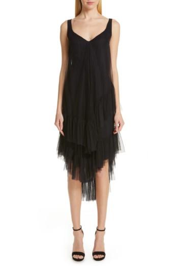 CHIARA BONI LA PETITE ROBE Tersilla Asymmetrical Tiered Black Dress