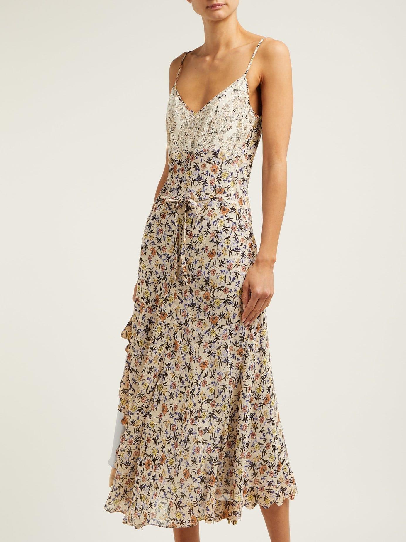 CHLOÉ Lace Insert Georgette Midi Cream / Floral Printed Dress