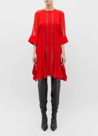 CHLOÉ Lace Trim Crepe Red Dress