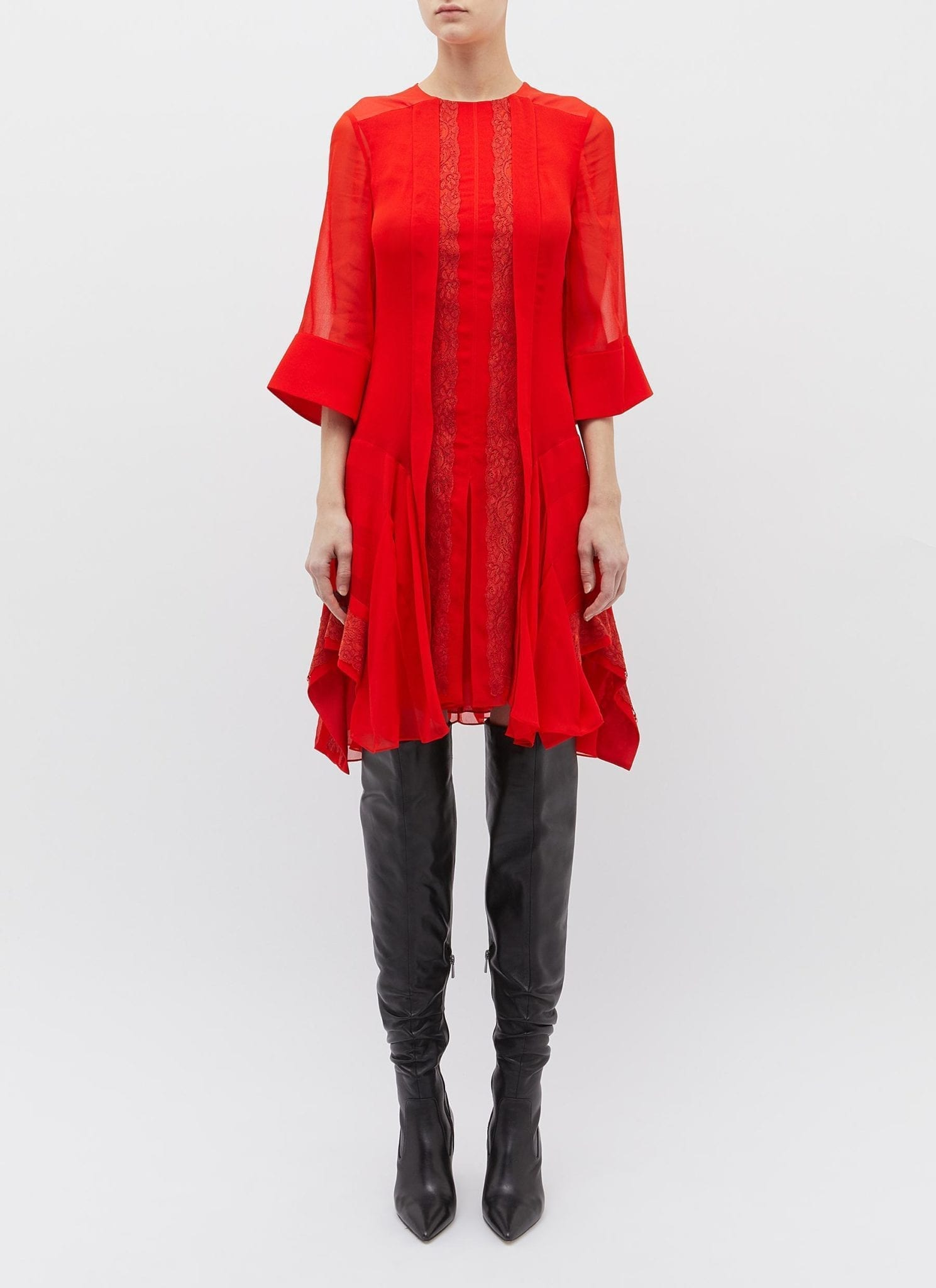 CHLOÉ Lace Trim Crepe Red Dress