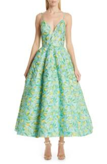 CHRISTIAN SIRIANO Floral Evening Lemon Dress