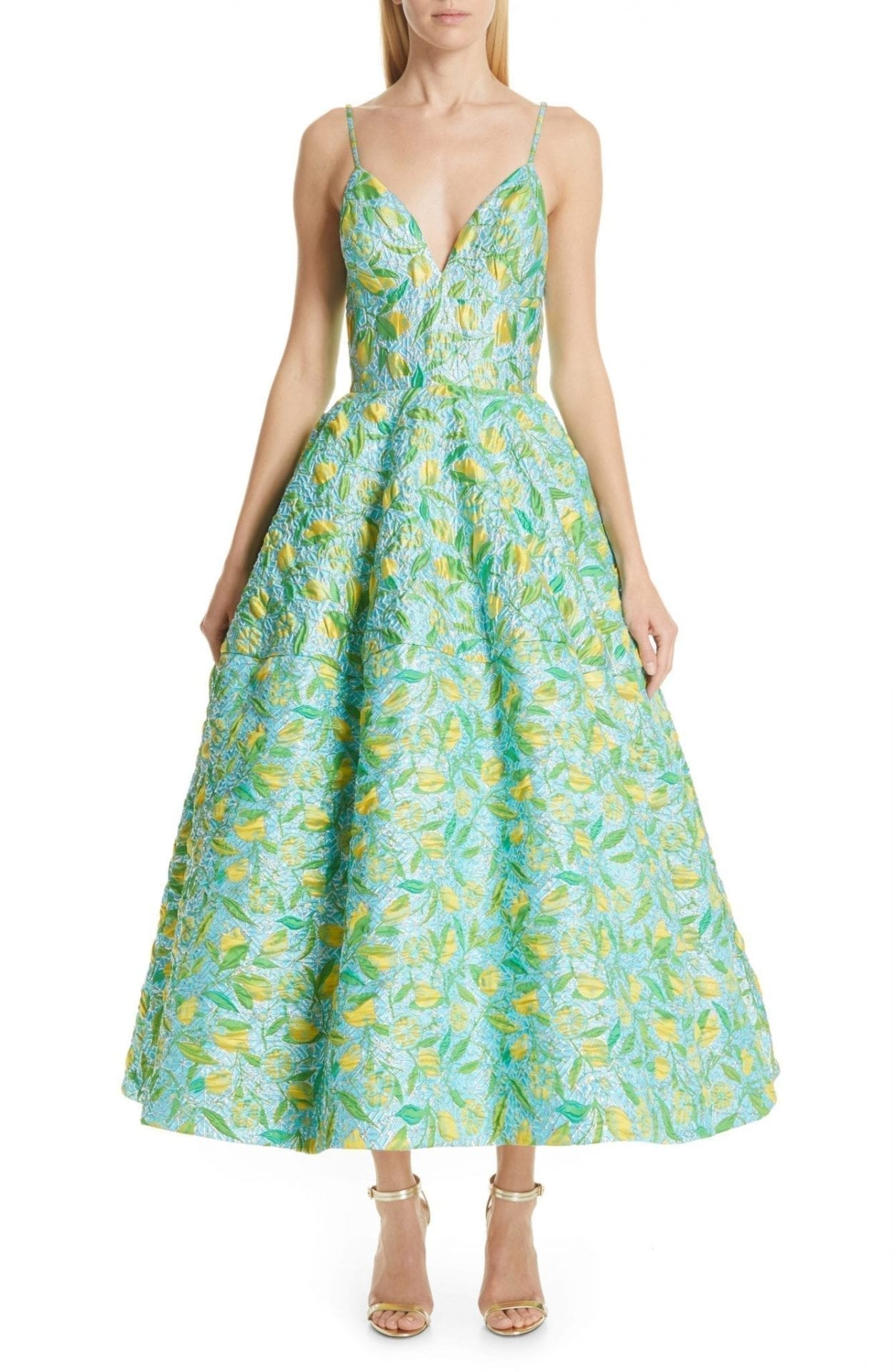 CHRISTIAN SIRIANO Floral Evening Lemon Dress