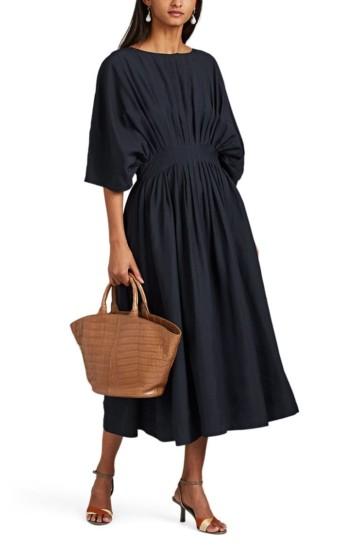 CO Pleated Midi Navy Dress