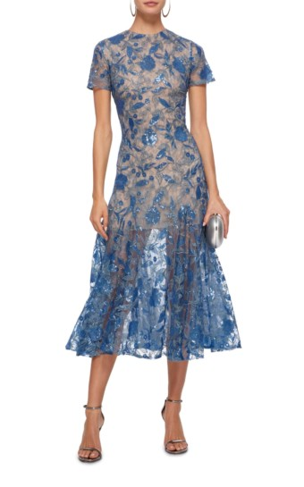 COSTARELLOS Mesh Sequin Tulle Midi Blue Dress