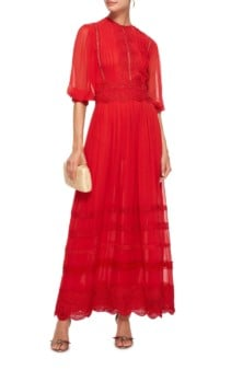 COSTARELLOS Silk Chiffon Maxi Red Dress