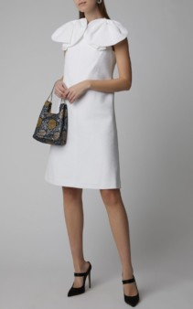 DELPOZO Pique Cotton-Blend White Dress