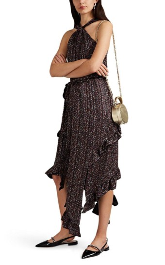DEREK LAM 10 CROSBY Striped Floral Crepe Halter Black Dress